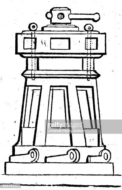 Engraving of a Capstan a broad revolving cylinder with a vertical axis used for winding a rope or cable powered by a motor or pushed round by levers...
