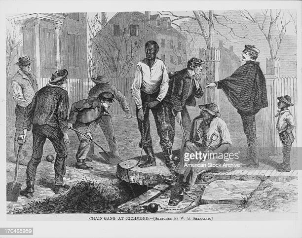 Engraving of a chain gang supervised by police officers as they landscape Richmond Park London UK