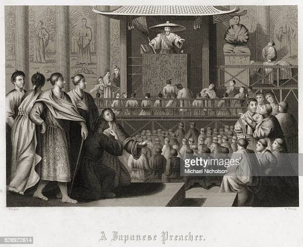 Engraving of a Preacher Speaking to a Crowd