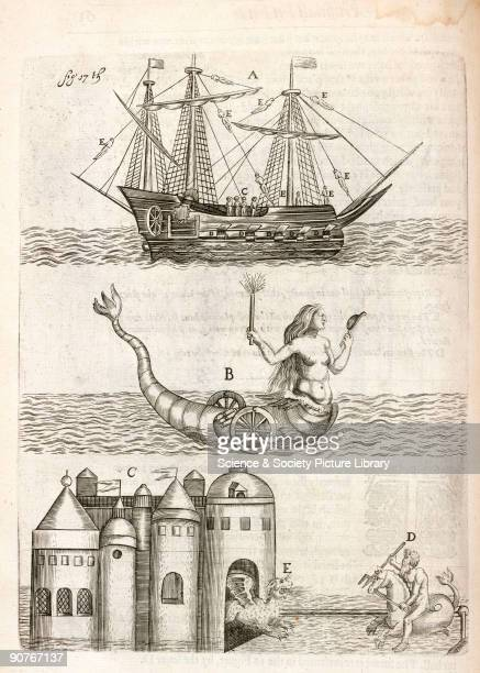 Engraving of a sailing ship a wheeled siren or mermaid holding a firework and a dragon leaving a castle and encountering Neptune riding an aquatic...