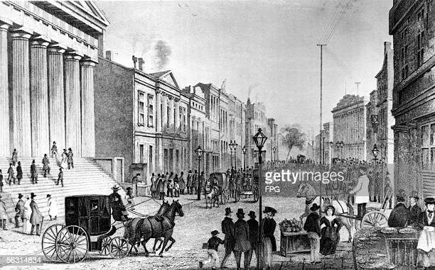 Engraving of a scene outside the New York Stock Exchange at the corner of Wall Street and Broad Street in downtown Manhattan New York New York 1860s