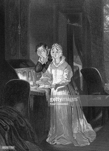 Engraving of a woman dressed a nightgown who sleepwalks with her eyes open as a man stands by and holds his hands over his face mid to late 1800s The...