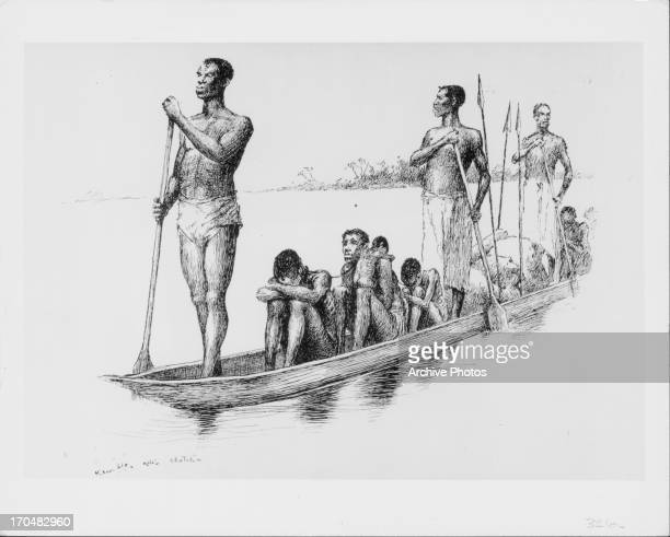 Engraving of African slave traders transporting captives via canoes in the Congo River circa 18001850