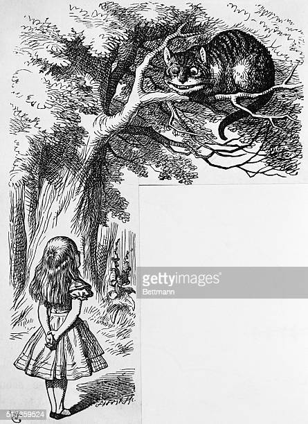 Engraving of Alice and the Cheshire Cat from Lewis Carroll's 'Alice's Adventures in Wonderland'