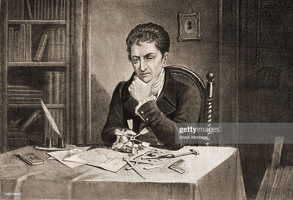 Engraving of American engineer and inventor Robert Fulton as he sits at a table chin in his hand and contemplate a model of a paddle wheel late 18th...