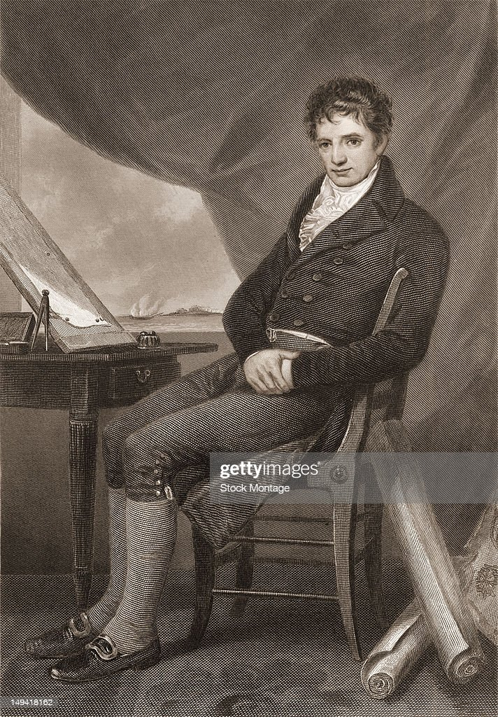 Engraving of American engineer and inventor Robert Fulton as he sits at a table late 18th or early 19th century Fulton devised both the first...