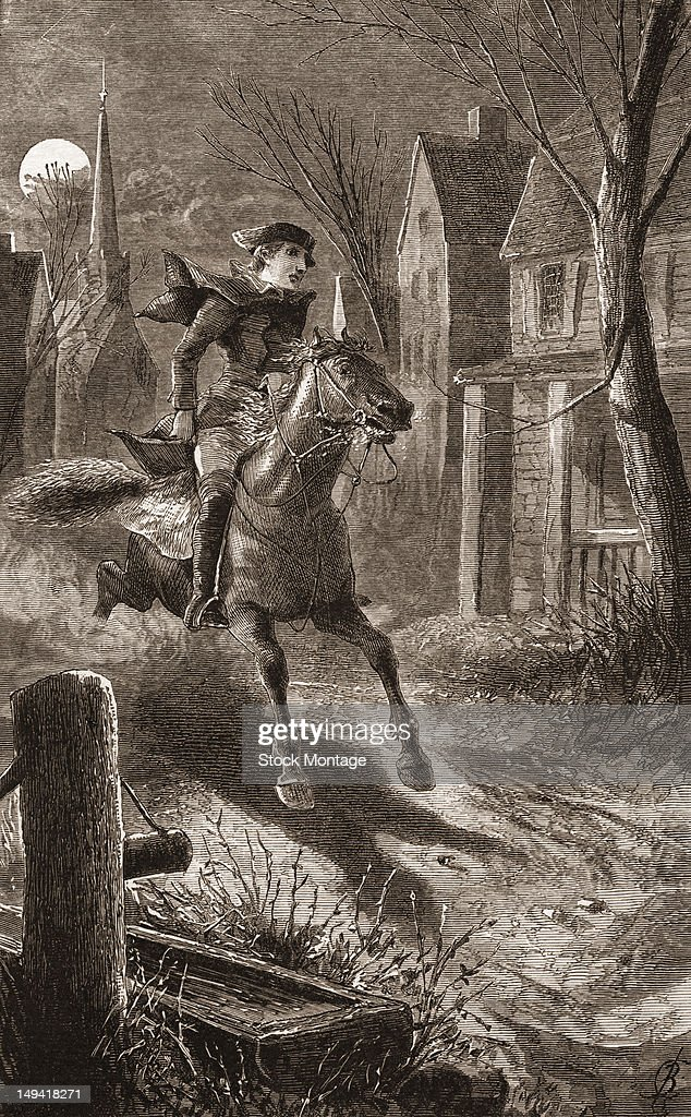 Engraving of American silversmith Paul Revere as he rides from Boston to Lexington to warn of British soldiers on the march toward Concord...