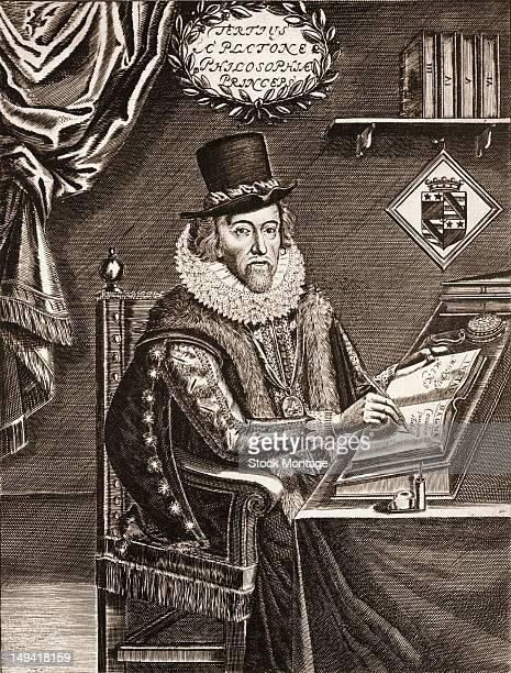 Engraving of British philosopher scientist statesman and author Sir Francis Bacon as he sits at a table a writes his scientic opus 'Instauratio...