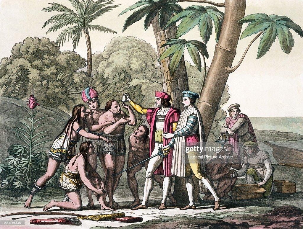 Engraving of <a gi-track='captionPersonalityLinkClicked' href=/galleries/search?phrase=Christopher+Columbus+-+Explorer&family=editorial&specificpeople=78936 ng-click='$event.stopPropagation()'>Christopher Columbus</a> Upon Reaching the New World by D. K. Bonatti