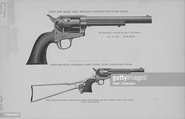 Engraving of Colt hand guns army metallic revolving pistol and metallic cartridge army pistol published in Brockett's 'Our countries wealth and...