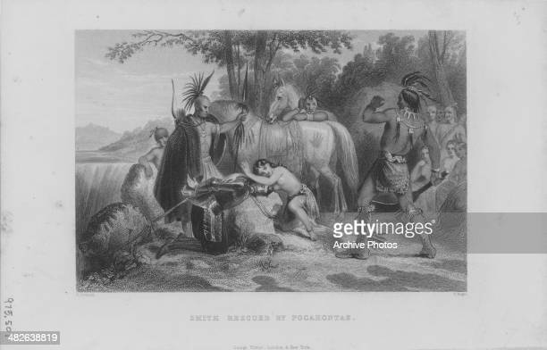 Engraving of explorer John Smith being saved from execution by Pocahontas she lies across his as the Chief of the Powhatans looks on Werowocomoco...