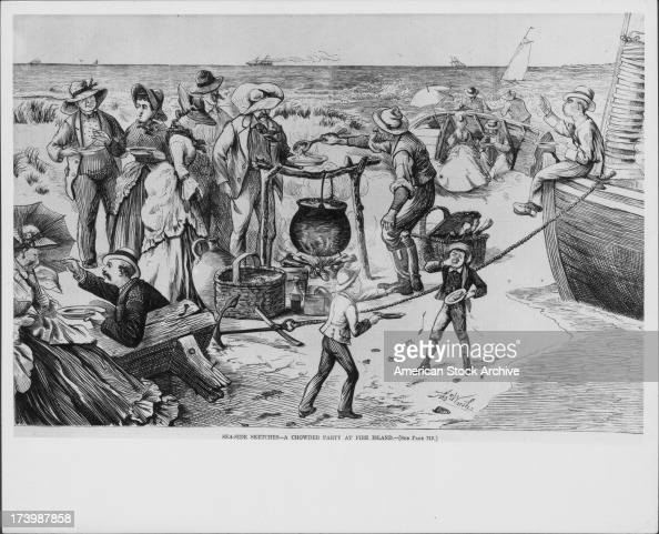 Engraving of families socializing and eating at the beach entitled 'Seaside sketches A chowder party at Fire Island' illustrated by Winslow Homer USA...