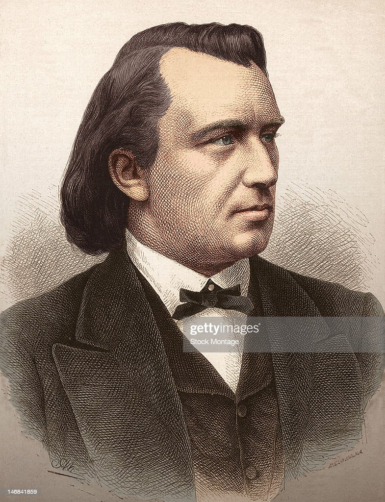 Engraving of German composer Johannes Brahms mid to late 19th century