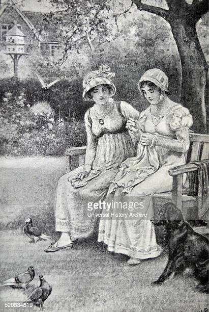 Engraving of Jane Austen and her sister Cassandra doing needlework in the rectory garden Dated 1810