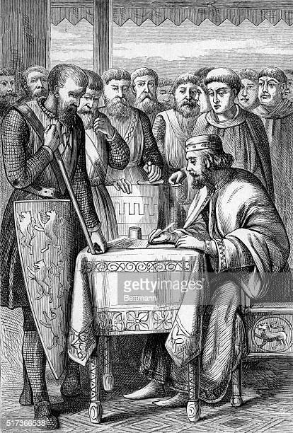 Engraving of King John of England signing the Magna Carta in Runnymede in June of 1215 The Magna Carta limited the power of the royalty and became...