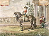 Engraving of Marquis on Horse