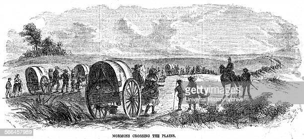 Engraving of Mormons crossing America The Mormon pioneers were members of the Church of Jesus Christ of Latterday Saints who migrated across the...