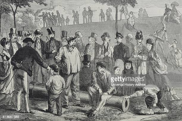 Engraving of sightseers at the Paris fortifications Dated 1870