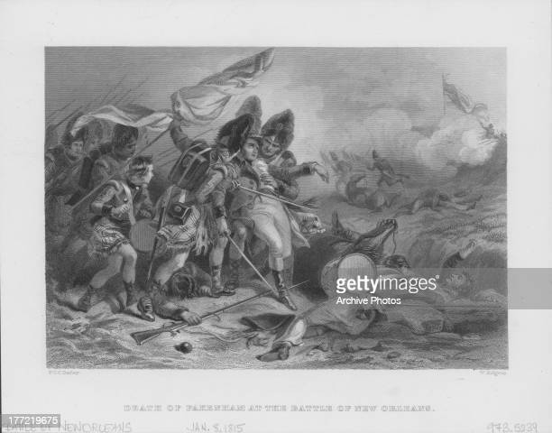 Engraving of the Battle of New Orleans the final major battle of the War of 1812 depicting the death of British General Edward Pakenham Louisiana...