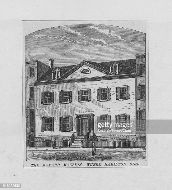 Engraving of the Bayard Mansion where founding father Alexander Hamilton died following his duel with Aaron Burr 1843 From the New York Public Library