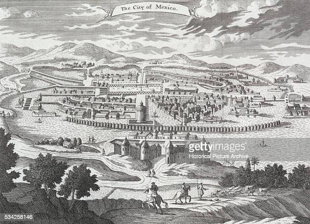 Engraving of the City of Mexico by John Clark