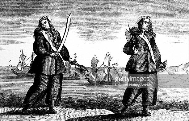 Engraving of the female pirates Mary Read and Anne Bonny Dated 18th Century