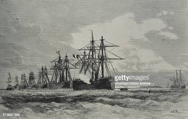 Engraving of the French Fleet off Heligoland a small German archipelago in the North Sea Dated 1870