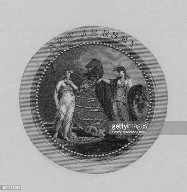 Engraving of the Great Seal of New Jersey 1849 From the New York Public Library