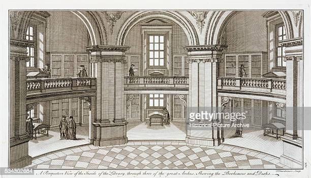 Engraving of the Interior of the Radcliffe Library by Pierre Fourdrinier