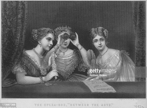 Engraving of 'The opera box' depicting three finely dressed ladies enjoying the opera engraved by Illman Brothers