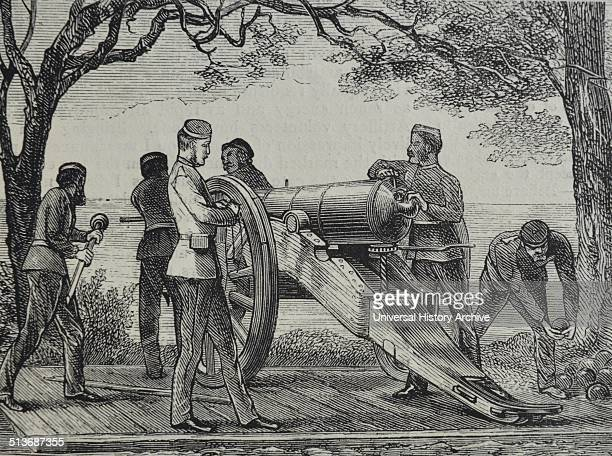 Engraving of the soldiers of the East Battery arming a cannon Dated 1870