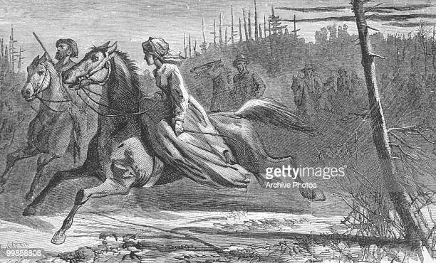 Engraving of women in the during the US civil war The 'Nameless Heroine' piloting the escaping prisoners out of a rebel ambush circa 1865