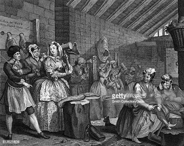 Engraving on paper titled 'A Harlot's Progress Plate 4 Moll beats hemp in Bridewell Prison' she beats hemp for hangman's nooses while the jailer...