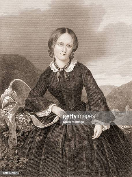 Engraving portrait of English author Charlotte Bronte mid 19th century