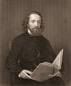 Engraving portrait of English poet Alfred Lord Tennyson mid to late 19th century