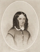 Engraving portrait of English poet Elizabeth Barrett Browning as a young woman early 19th century