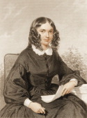 Engraving portrait of English poet Elizabeth Barrett Browning mid 19th century