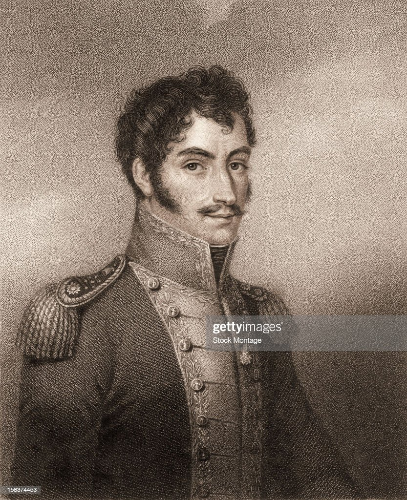 Engraving portrait of Venezuelan military, political, and revoltionary leader <a gi-track='captionPersonalityLinkClicked' href=/galleries/search?phrase=Simon+Bolivar&family=editorial&specificpeople=151017 ng-click='$event.stopPropagation()'>Simon Bolivar</a> (1783 - 1830), early 19th century.