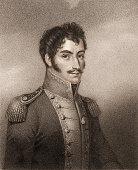 Engraving portrait of Venezuelan military political and revoltionary leader Simon Bolivar early 19th century