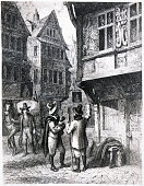 Engraving possibly 19th century showing the �Dead Cart� collecting bodies of plague victims The door on the right is marked �Lord have Mercy� The...