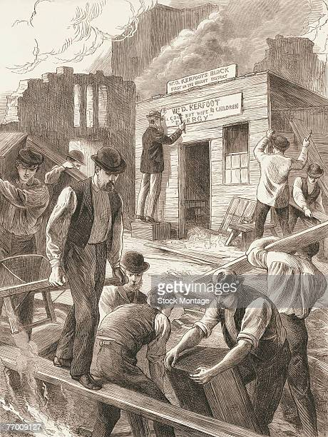 Engraving shos workmen as they begin to rebuilt structures destroyed in the Great Chicago Fire Illinois late 1871 In the background a man sign...