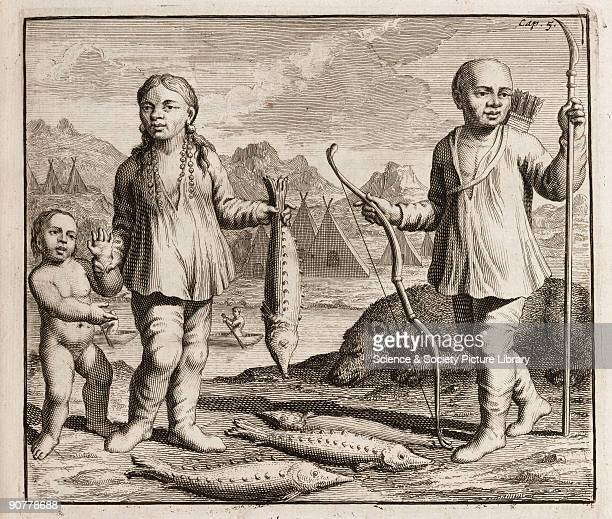 Engraving showing a family of indigenous people possibly from Siberia The woman is holding a sturgeon and the man has a bow and arrows and a spear In...