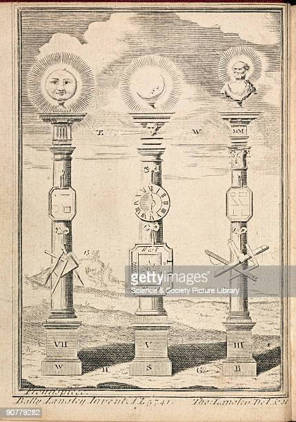 Engraving showing columns surmounted by the Sun Moon and a classical bust possibly of a Greek mathamatician such as Euclid with various drawing...