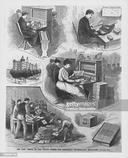 Engraving showing the uses of the new electrical engineering mechanism during the USA census designed by Herman Hollerith and used to tabulate...