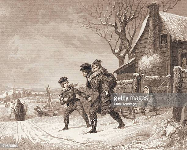 Engraving shows a group of children as they head leave home on their way to school on a winter morning 1849 One child pulls a second one on a sled...