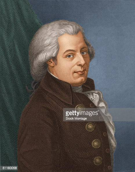 Engraving shows a portrait of Austrian composer Wolfgang Amadeus Mozart late 1700s