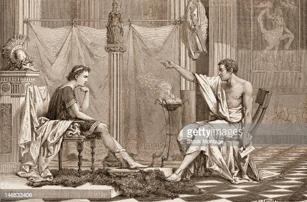Engraving shows future Macedonia king Alexander the Great Alexander III of Macedon as he listens to his tutor Greek mathematician and inventor...