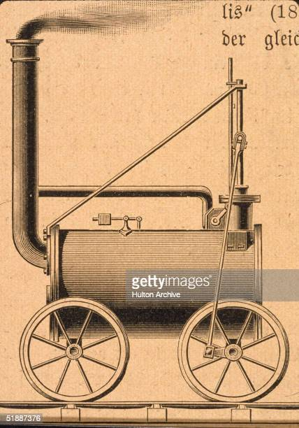 Engraving shows incomplete drawing of Cornish inventor and engineer Richard Trevithick's steam locomotive with which he successfully hauled 25 tons...