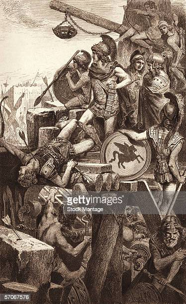 Engraving shows Macedonian King Alexander the Great as he leads a siege on the Phoenician city of Tyre July 332 BC