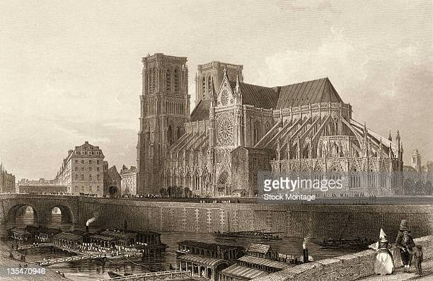 Engraving shows NotreDame Cathedral and the Seine River Paris France late 1840s